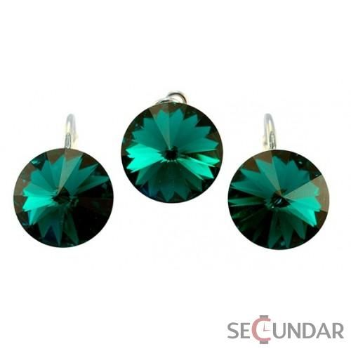 Set Argint 925 cu SWAROVSKI ELEMENTS Rivoli 14mm Emerald