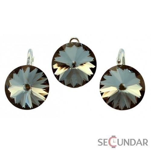 Set Argint 925 cu SWAROVSKI ELEMENTS Rivoli 14mm Silver Night