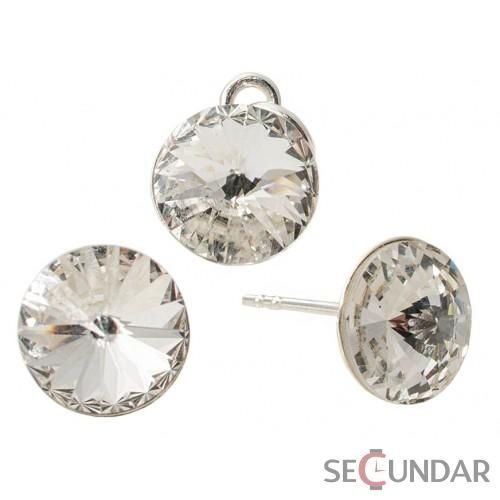 Set Argint 925 cu SWAROVSKI ELEMENTS Rivoli 8 mm Crystal Clear