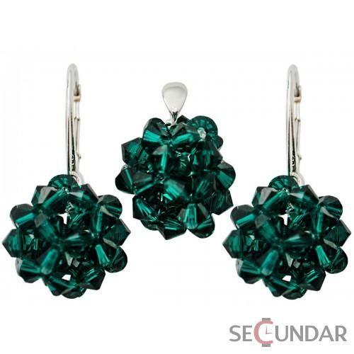 Set Argint 925 cu SWAROVSKI ELEMENTS Sewed Bicone 16mm Emerald