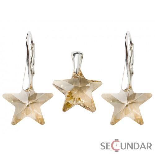 Set Argint 925 cu SWAROVSKI ELEMENTS Star 16 mm Golden Shadow