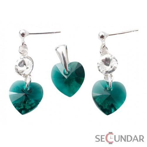 Set Argint 925 cu SWAROVSKI ELEMENTS Stud Clear Heart 10 mm Emerald