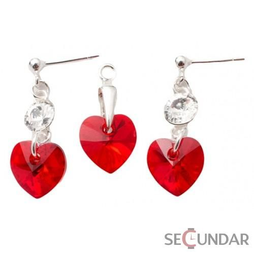 Set Argint 925 cu SWAROVSKI ELEMENTS Stud Clear Heart 10 mm Lt. Siam
