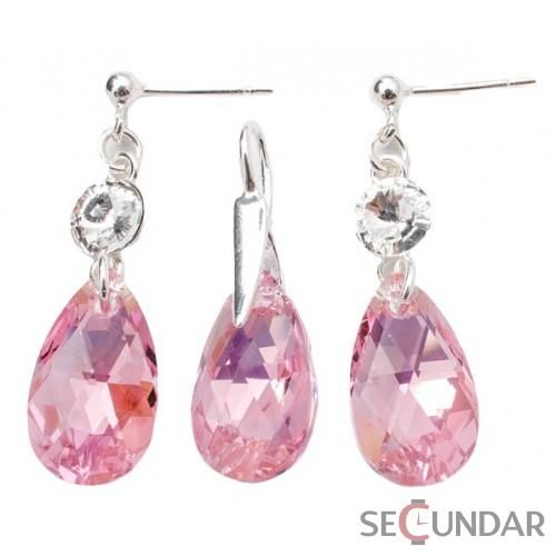 Set Argint 925 cu SWAROVSKI ELEMENTS Stud Clear Pear 16 mm Lt. Rose AB