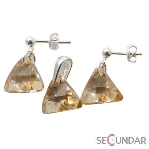 Set Argint 925 cu SWAROVSKI ELEMENTS Triangle 12 mm Golden Shadow