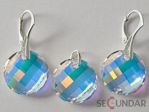 Set Argint 925 cu SWAROVSKI ELEMENTS Twist 18 mm Aurore Boreale